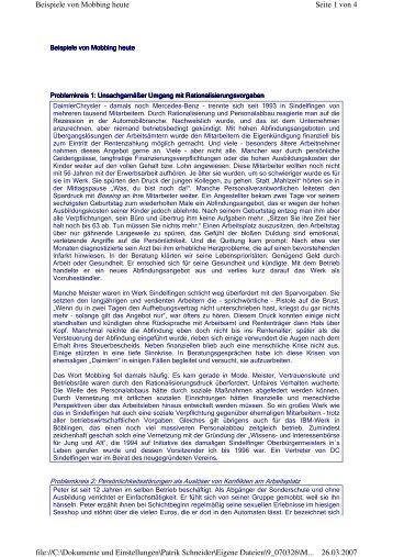 Beispiele von Mobbing heute.pdf - von Patrik Schneider