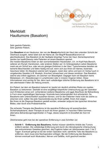 Merkblatt Hauttumore (Basaliom) - Health2beauty