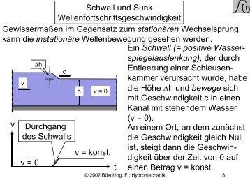 Schwall und Sunk Wellenfortschrittsgeschwindigkeit Ein Schwall ...