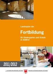 Landesplan der Fortbildung 2011/12 - Kindergarten und Schule in ...