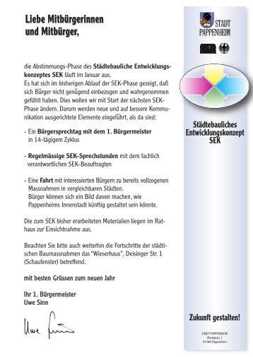 konzeptes SEK - Stadt Pappenheim