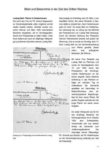 Bibel und Bekenntnis in der Zeit des Dritten Reiches
