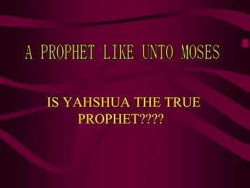 A PROPHET LIKE UNTO MOSES - Wisdom In Torah
