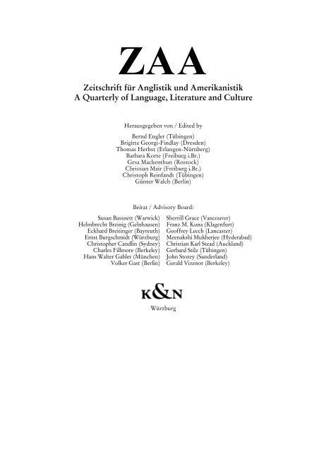 Zeitschrift Fur Anglistik Und Amerikanistik A Quarterly Of Language