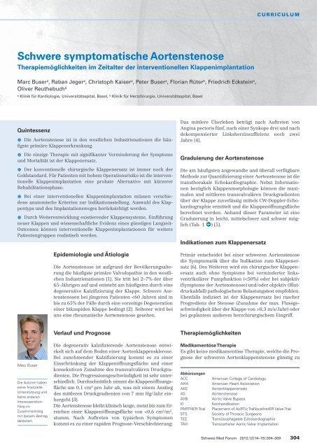Schwere symptomatische Aortenstenose - Swiss Medical Forum