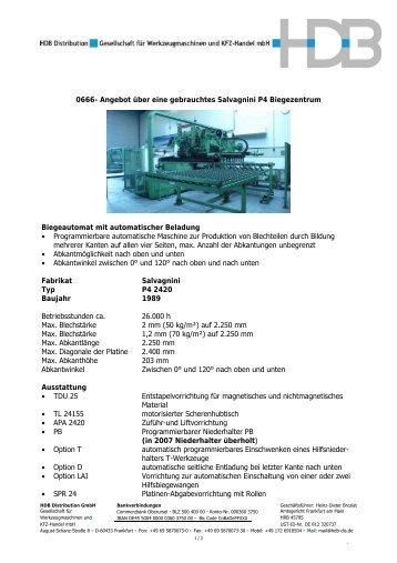 0641 Angebot über Eine Gebrauchte Abkantpresse Fabrikat Trumpf