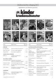 Inhaltsverzeichnis Jahrgang 2012 - Kinderkrankenschwester