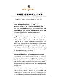 Holzapfel Group wird für Sinter Surface Solutions mit
