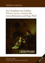 Die Charaktere aus Goethes Wilhelm Meisters Lehrjahre bei Anton ...