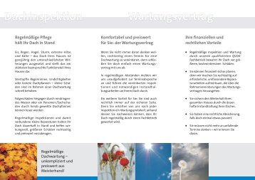 Dachinspektion Wartungsvertrag - Holzbau Beck GMBH