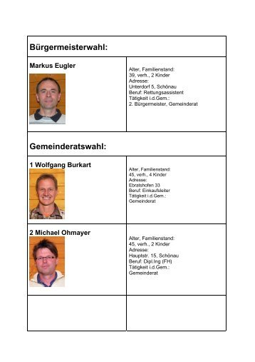 Bürgermeisterwahl: Gemeinderatswahl: