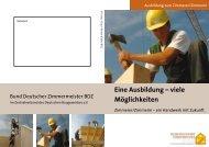Flyer Ausblindung zum Zimmerer / Zimmerin - Holzbau Brauner
