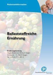 Informationen zu Ballaststoffen - Gesundheitsverbund HBH-Kliniken