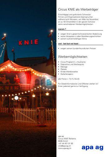 Circus KNIE als Werbeträger Werbemöglichkeiten