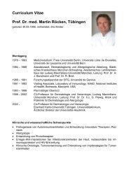 Curriculum Vitae Prof. Dr. med. Martin Röcken, Tübingen