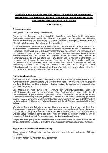 Behandlung von therapie-resistenter Alopecia areata - Universitäts ...
