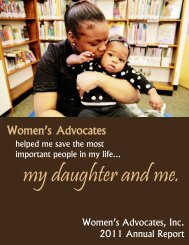 2011 Annual Report Draft - Women's Advocates, Inc.