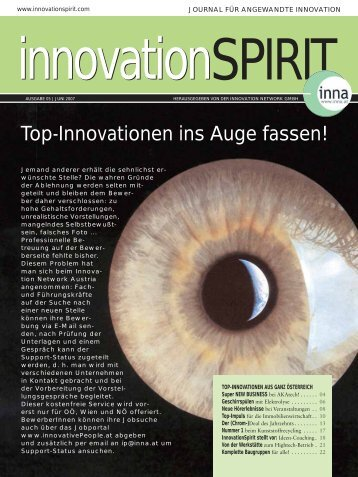 Top-Innovationen ins Auge fassen! - Innovation Network Austria