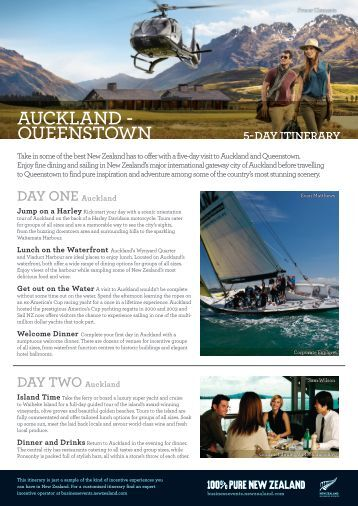 AUCKLAND – QUEENSTOWN 5-DAY ItInerArY - New Zealand
