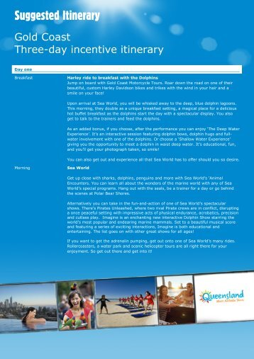 Gold Coast Three-day incentive itinerary - Queensland Incentives