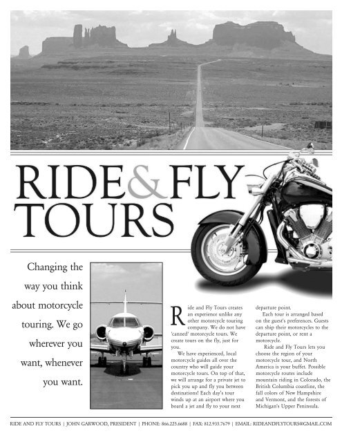 Brochure Black White - Ride and Fly Motorcycle Tours
