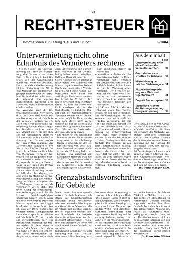 Ausgabe 9/04, PDF - Haus und Grund Düsseldorf