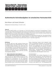 Authentische Schreibaufgaben im - Zeitschrift Schreiben