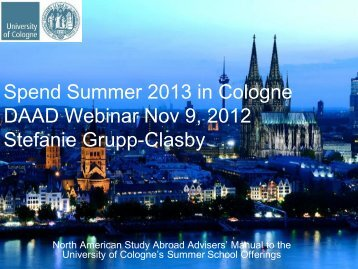 Download University of Cologne presentation - DAAD
