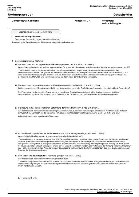 Rodungsgesuch Gesuchsteller - Castrisch