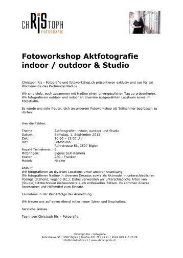 Fotoworkshop Aktfotografie indoor / outdoor & Studio