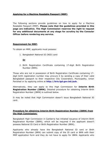 Machine Readable Passport Correction Form Pdf Bangladesh