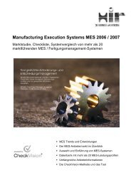 Manufacturing Execution Systems MES 2006 / 2007