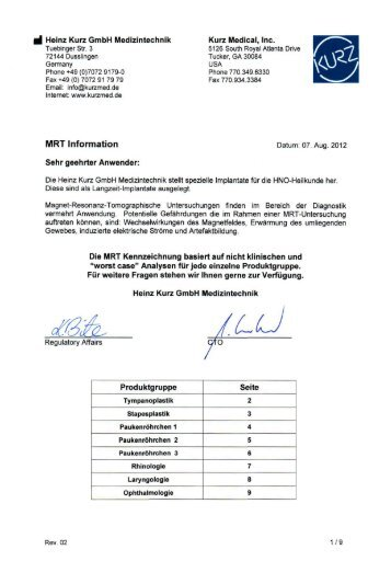 MR Information - Heinz Kurz GmbH