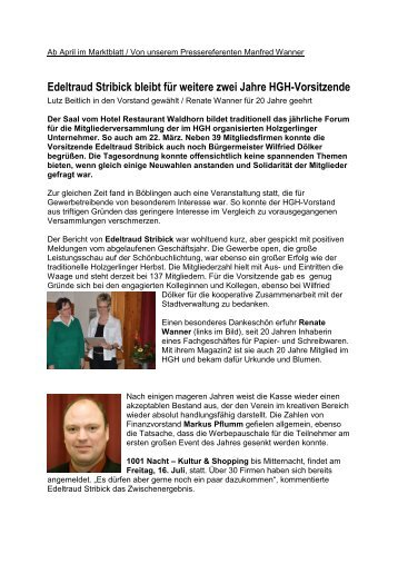 Edeltraud Stribick bleibt für weitere zwei Jahre HGH-Vorsitzende
