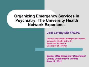 Organizing Emergency Services in Psychiatry - Central Local Health ...