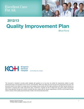 KGH Quality Improvement Plan - Kingston General Hospital