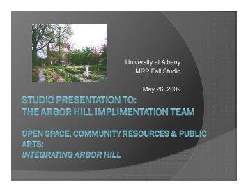 University at Albany MRP Fall Studio May 26, 2009