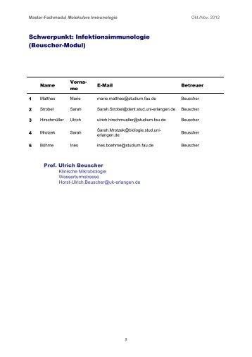 Schwerpunkt: Infektionsimmunologie (Beuscher-Modul)