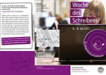 des Schreibens - Universität zu Köln