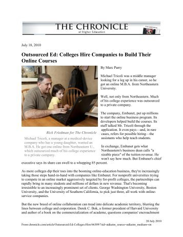Outsourced Ed: Colleges Hire Companies to Build Their Online ...