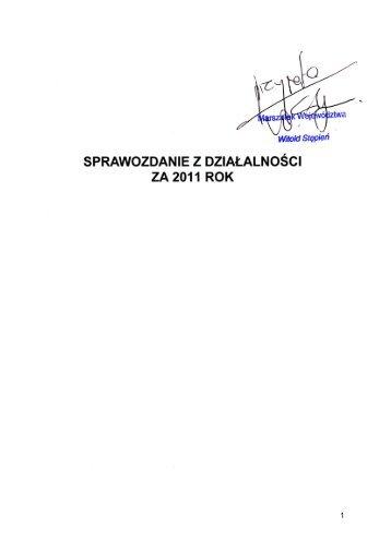 Sprawozdanie za 2011 rok - Biuletyn Informacji Publicznej ...