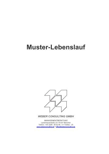 Der Muster Lebenslauf - Weber Consulting GmbH