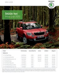 Å KODA Yeti Price List 2013