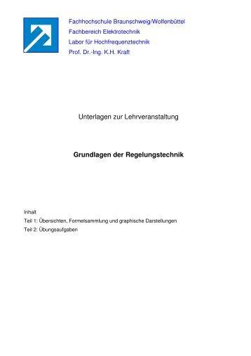 Unterlagen zur Lehrveranstaltung Grundlagen der Regelungstechnik