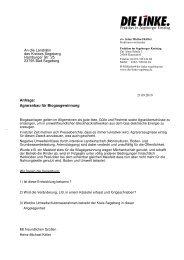 Anfrage Fraktion Die LINKE Biogasgewinnung