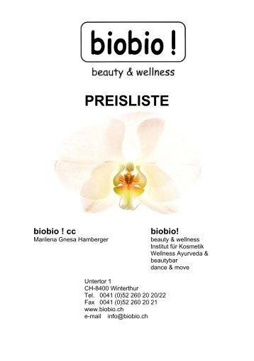 PREISLISTE - Kosmetik-Institut biobio Winterthur