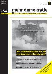 Ausgabe 1/2007 - Mehr Demokratie eV