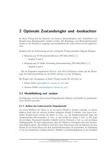 Übung 2 (31.10.2012): Optimale Zustandsregler und - ACIN