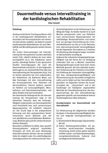 Dauermethode versus Intervalltraining in der ... - AGAKAR