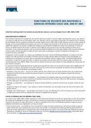 FONCTIONS DE SÉCURITÉ DES ROUTEURS À SERVICES - Cisco